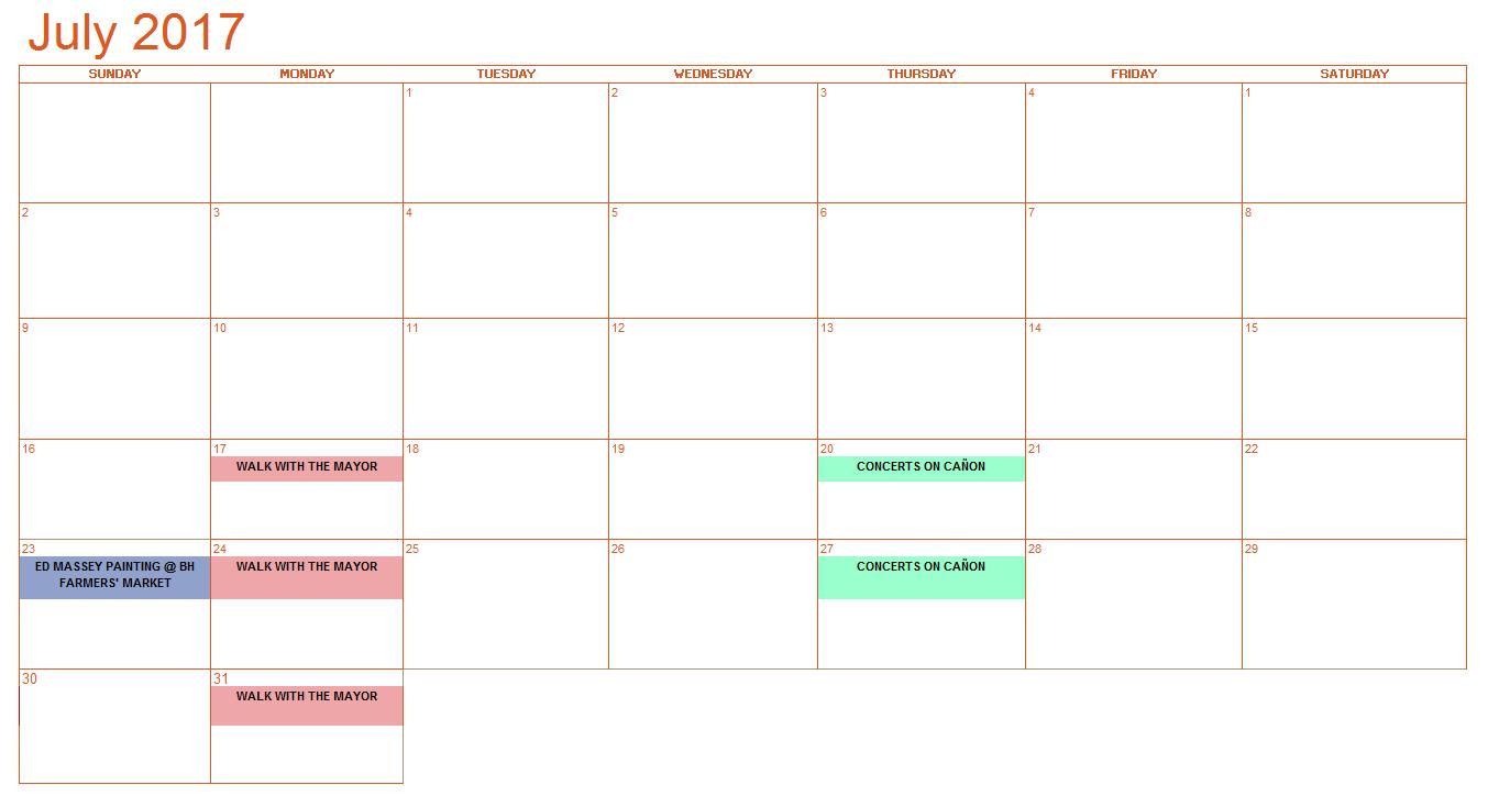 July Bold Calendar