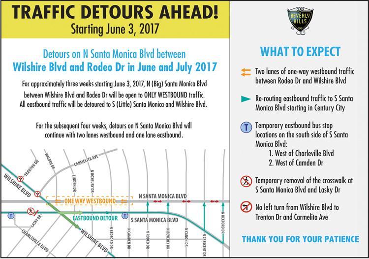 N Santa Monica Blvd Detour Map