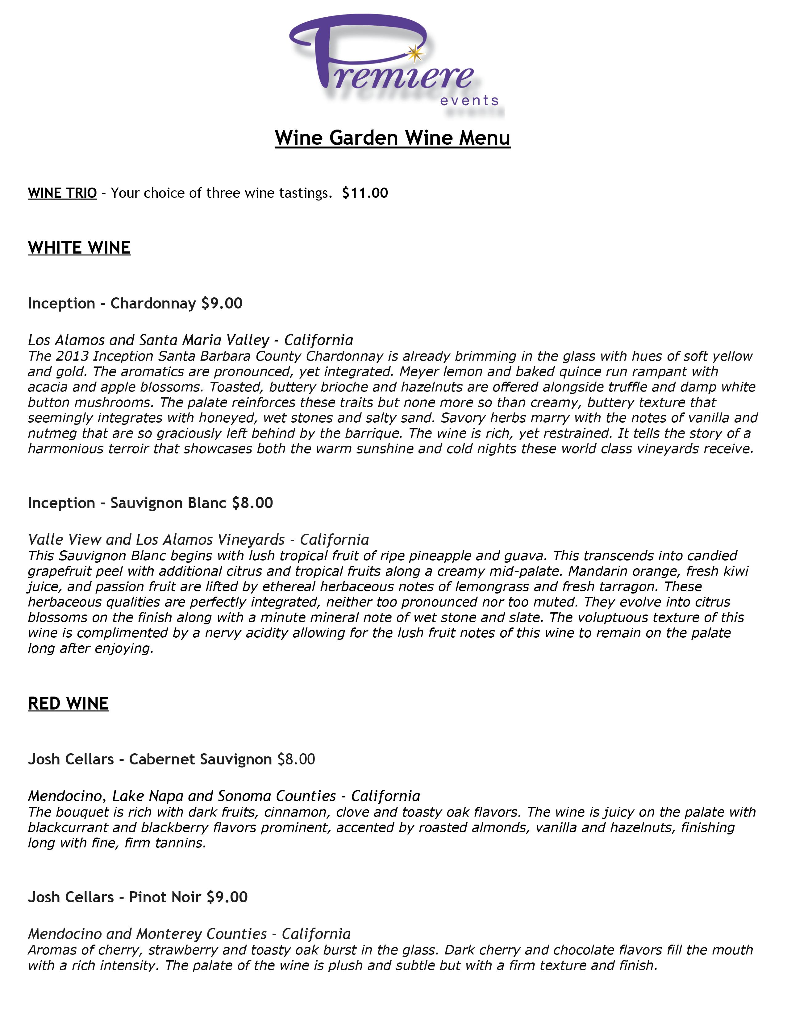 Wine Garden Wine List